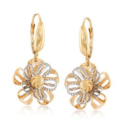 Italian 14kt Two-Tone Gold Floral Drop Earrings, , default