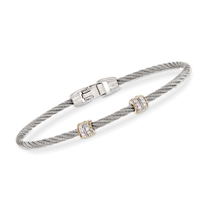 "ALOR ""Classique"" .13 ct. t.w. Diamond Gray Stainless Steel Cable Bracelet. 7"""