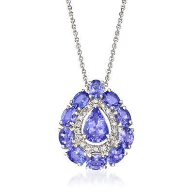2.30 ct. t.w. Tanzanite and .10 ct. t.w. Diamond Necklace in 18kt White Gold, , default