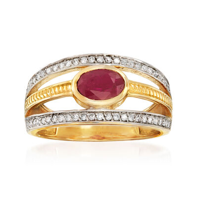1.00 Carat Ruby and .27 ct. t.w. Diamond Open-Space Ring in 14kt Yellow Gold, , default