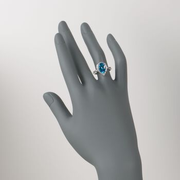 3.75 Carat Blue Topaz Ring With Diamonds in 14kt White Gold, , default