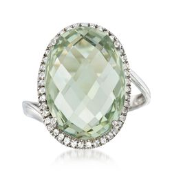 13.00 Carat Green Prasiolite  and .30 ct. t.w. White Zircon Ring in Sterling Silver, , default
