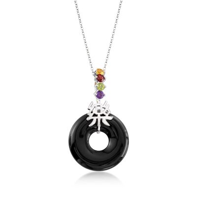 "Black Agate and .36 ct. t.w. Multi-Stone ""Happy"" Chinese Symbol Pendant Necklace in Sterling Silver, , default"