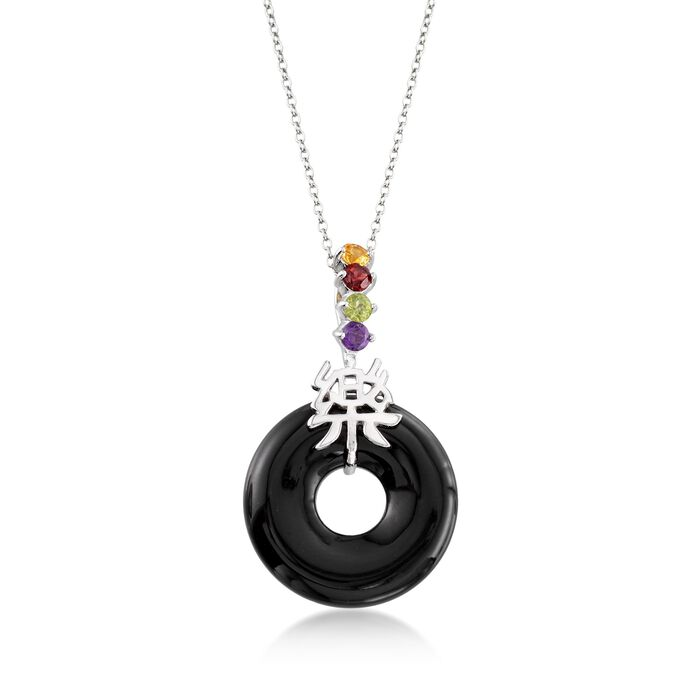 """Black Agate and .36 ct. t.w. Multi-Stone """"Happy"""" Chinese Symbol Pendant Necklace in Sterling Silver. 18"""", , default"""
