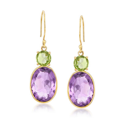 9.95 ct. t.w. Amethyst and Peridot Drop Earrings in 14kt Yellow Gold, , default