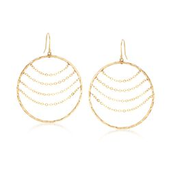 14kt Yellow Gold Twisted Open-Circle Drop Earrings With Draping Chains, , default