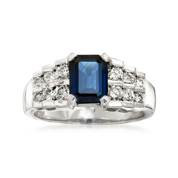 1.50 Carat Sapphire and .60 ct. t.w. Diamond Ring in 14kt White Gold