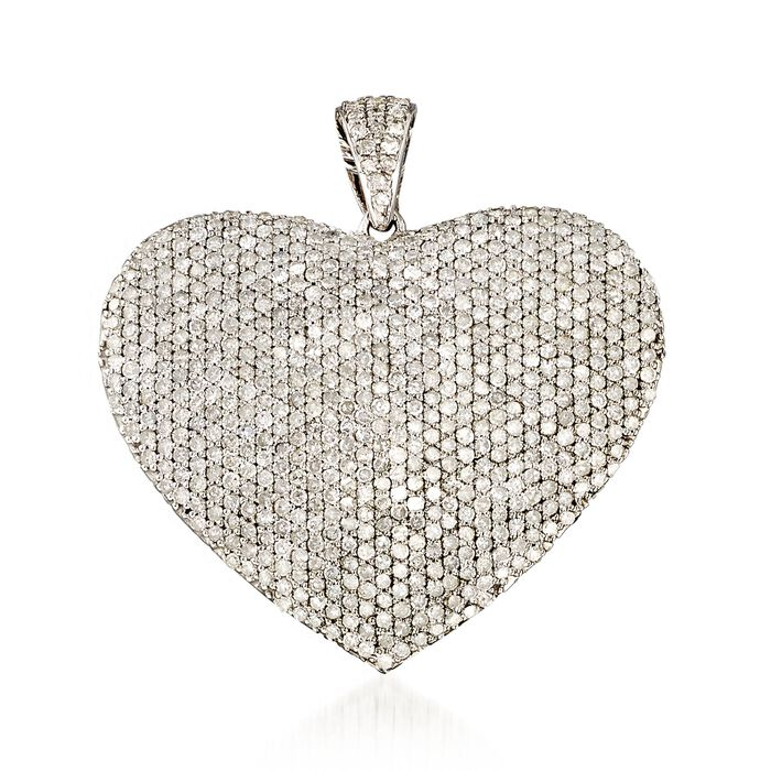 5.00 ct. t.w. Pave Diamond Heart Pendant in Sterling Silver, , default