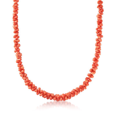 C. 1980 Vintage Coral Beaded Necklace, , default
