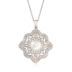 8mm Cultured Pearl and .27 ct. t.w. Diamond Scrolled Pendant Necklace in 14kt White Gold, , default