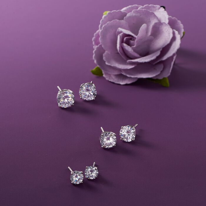 6.00 ct. t.w. CZ Jewelry Set: Three Pairs of Stud Earrings in Sterling Silver