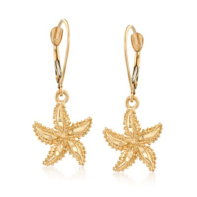 14kt Yellow Gold Starfish Drop Earrings, , default