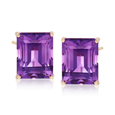 10.00 ct. t.w. Emerald-Cut Amethyst Stud Earrings in 14kt Yellow Gold, , default