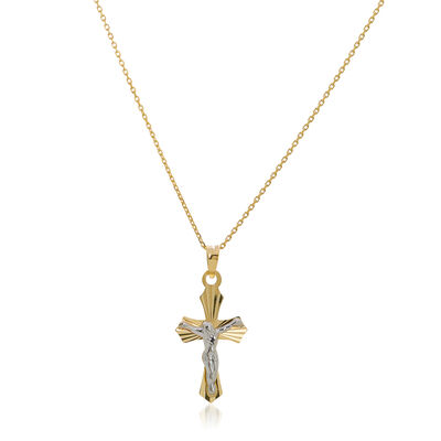 14kt Two-Toned Gold Diamond Cut Crucifix Cross Pendant Necklace, , default