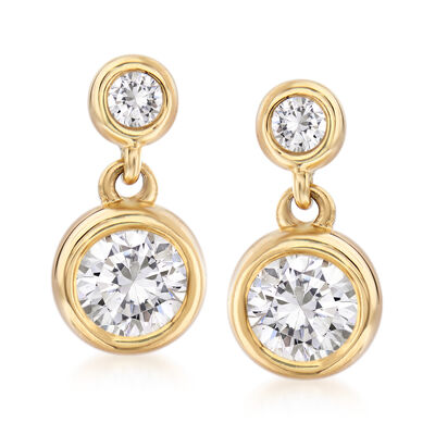 .75 ct. t.w. Bezel-Set Diamond Drop Earrings in 14kt Yellow Gold