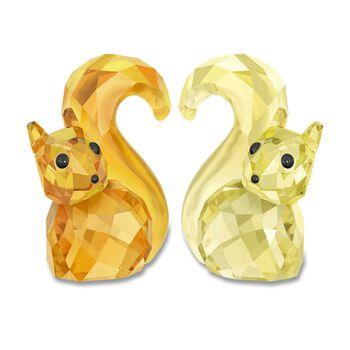 "Swarovski Crystal ""In Love - Bert & Berta"" Orange and Yellow Figure Set: Two Squirrels, , default"