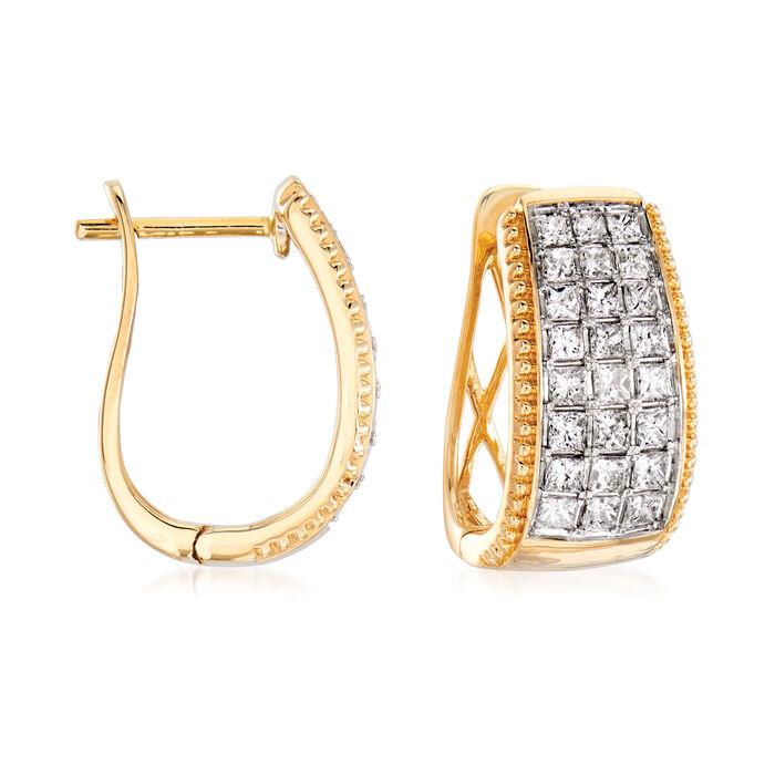 1.50 ct. t.w. Diamond Beaded-Edge Hoop Earrings in 14kt Yellow Gold