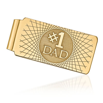 14kt Yellow Gold #1 Dad Money Clip, , default