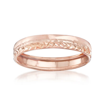 Italian 14kt Rose Gold Diamond-Cut Ring, , default