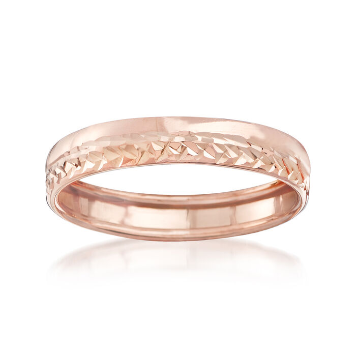 Italian 14kt Rose Gold Diamond-Cut Ring