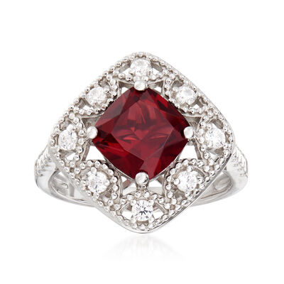 2.25 Carat Simulated Ruby and .38 ct. t.w. CZ Ring in Sterling Silver