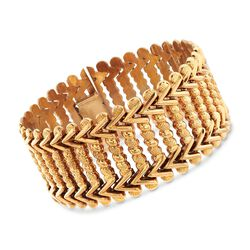 """C. 1960 Vintage 18kt Yellow Gold Wide Link Bracelet. 7.75"""", , default"""