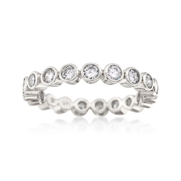 1.00 ct. t.w. Bezel-Set Diamond Eternity Band in 14kt White Gold, , default