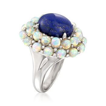Lapis and Opal Ring in Sterling Silver, , default
