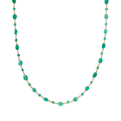 Green Onyx Station Bead Necklace in 18kt Gold Over Sterling, , default