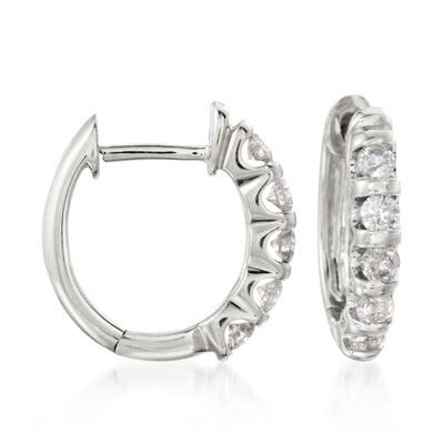 .50 ct. t.w. Diamond Huggie Hoop Earrings in 14kt White Gold, , default