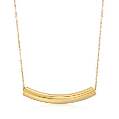 14kt Yellow Gold Curved Bar Necklace, , default
