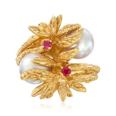 C. 1970 Vintage 7.5mm Cultured Pearl and .16 ct. t.w. Ruby Floral Bypass Ring in 14kt Yellow Gold, , default