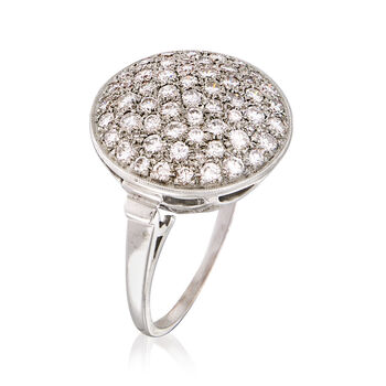 C. 1960 Vintage 1.35 ct. t.w. Diamond Cluster Ring in 14kt White Gold. Size 7.75