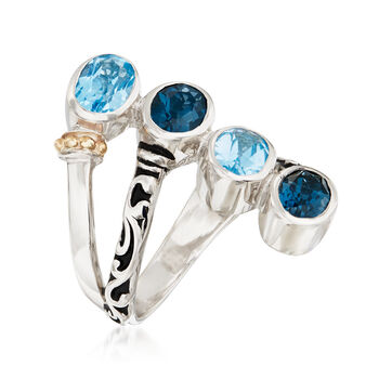 3.70 ct. t.w. Swiss and London Blue Topaz Bypass Ring with 14kt Yellow Gold in Sterling Silver, , default