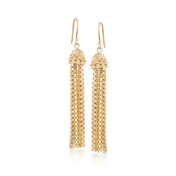 14kt Yellow Gold Over Sterling Silver Box Chain Tassel Earrings, , default