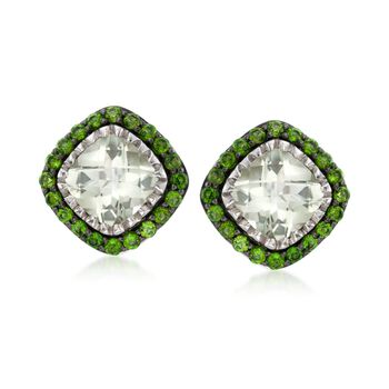 5.50 ct. t.w. Green Amethyst and 1.60 ct. t.w. Green Chrome Diopside Earrings in Sterling Silver , , default