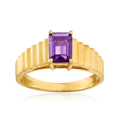 C. 1980 Vintage .75 Carat Amethyst Ring in 14kt Yellow Gold, , default