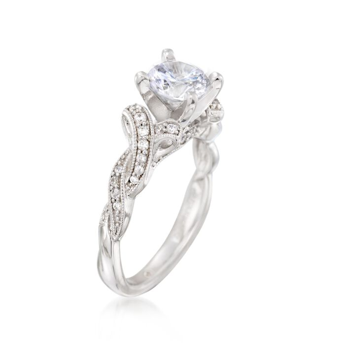 Gabriel Designs .26 ct. t.w. Diamond Engagement Ring Setting in 14kt White Gold