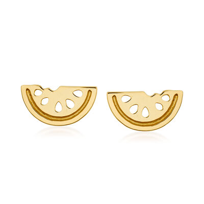 14kt Yellow Gold Watermelon Stud Earrings, , default