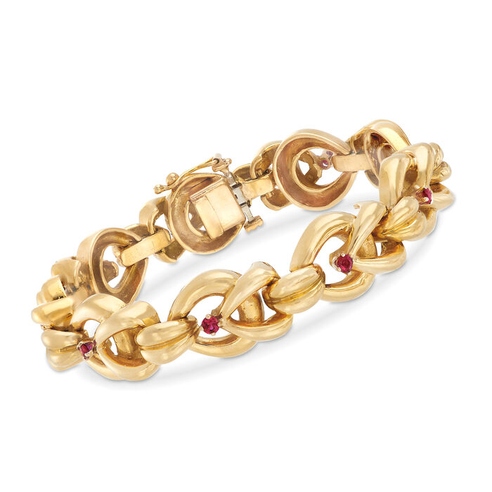 """C. 1980 Vintage Tiffany Jewelry 1.00 ct. t.w. Ruby and 18kt Yellow Gold Link Bracelet. 7"""""""