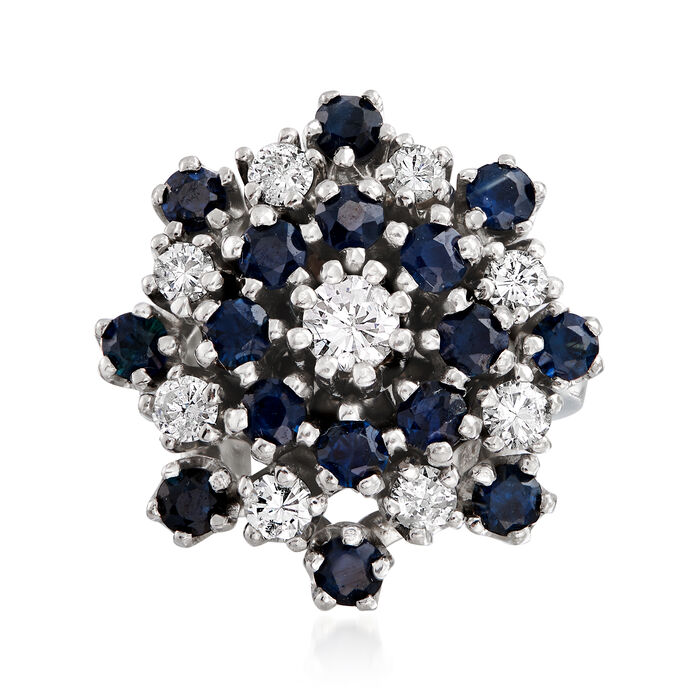 C. 1970 Vintage 1.60 ct. t.w. Sapphire and .90 ct. t.w. Diamond Cluster Ring in 14kt White Gold. Size 6.25