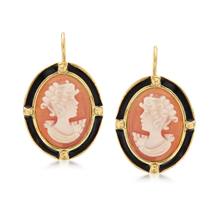 Italian Orange Shell Cameo Drop Earrings with Black Enamel in 18kt Gold Over Sterling