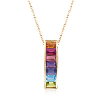 2.00 ct. t.w. Multi-Gemstone Pendant Necklace in 14kt Yellow Gold, , default