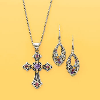 """.90 Carat Amethyst and .90 ct. t.w. Rhodolite Garnet Balinese Cross Pendant Necklace in Sterling Silver and 18kt Gold. 18"""""""