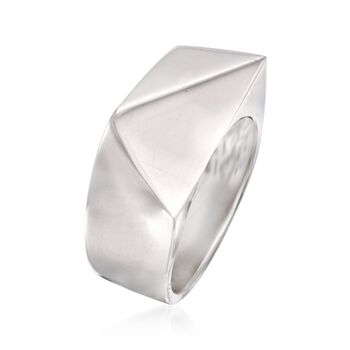Italian Sterling Silver Geometric Triangle Ring, , default