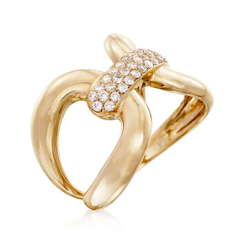 .34 ct. t.w. Diamond Horsebit Ring in 14kt Yellow Gold, , default
