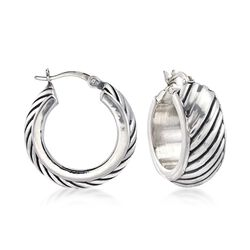 "Sterling Silver Small Twisted Hoop Earrings. 3/4"", , default"