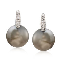 13mm Black South Sea Pearl Earrings With .16 ct. t.w. Diamonds in 18kt White Gold , , default