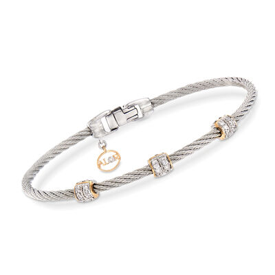 "ALOR ""Classique"" .21 ct. t.w. Diamond Gray Stainless Steel Cable Bracelet, , default"