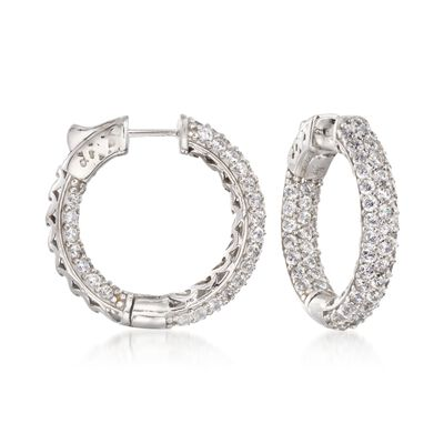 4.00 ct. t.w. CZ Inside-Outside Medium Hoop Earrings in Sterling Silver, , default